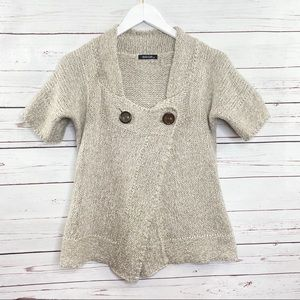 Dolce Cabo  Wrap Wool Blend Short Sleeve Sweater